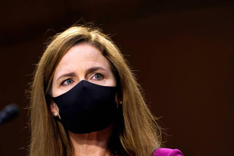 Amy Coney Barrett, indicada para a Suprema Corte dos EUA, durante audiência no Senado