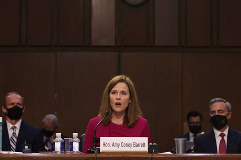 WASHINGTON, DC - OCTOBER 12: Supreme Court nominee Judge Amy Coney Barrett speaks during her Senate Judiciary Committee confirmation hearing on Capitol Hill on October 12, 2020 in Washington, DC. Barrett was nominated by President Donald Trump to fill the vacancy left by Justice Ruth Bader Ginsburg who passed away in September.   Win McNamee/Getty Images/AFP == FOR NEWSPAPERS, INTERNET, TELCOS & TELEVISION USE ONLY ==