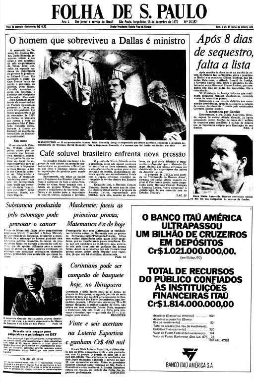 Primeira Página da Folha de 15 de dezembro de 1970