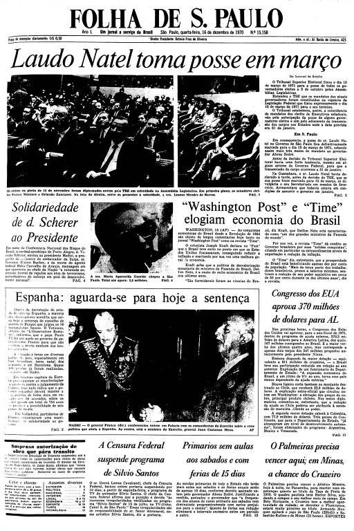 Primeira Página da Folha de 16 de dezembro de 1970