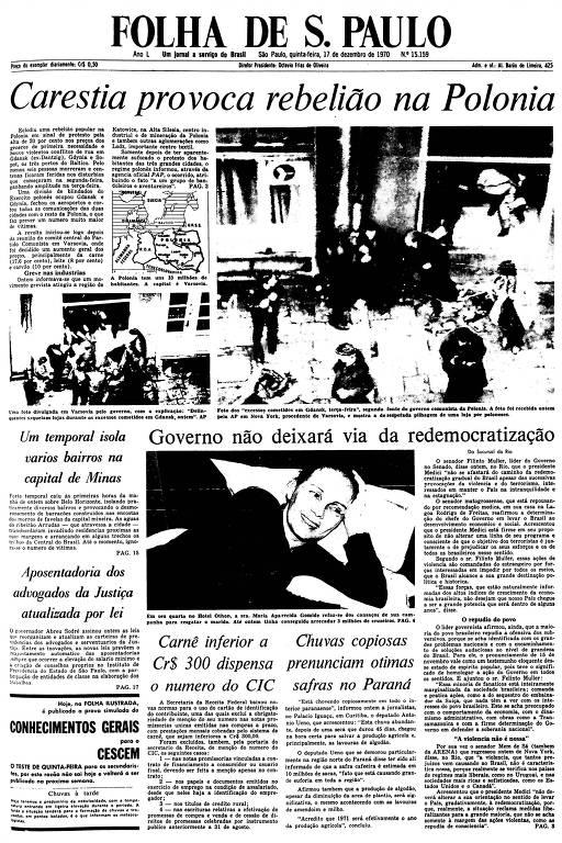 Primeira Página da Folha de 17 de dezembro de 1970