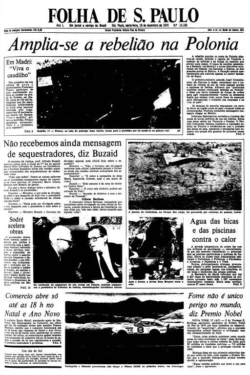 Primeira Página da Folha de 18 de dezembro de 1970