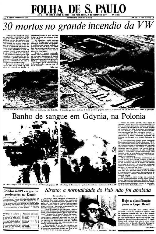 Primeira Página da Folha de 19 de dezembro de 1970