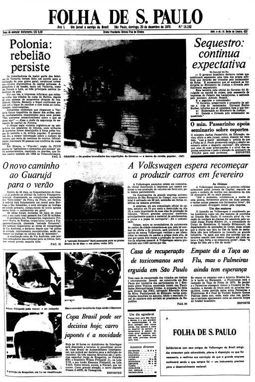 Primeira Página da Folha de 20 de dezembro de 1970