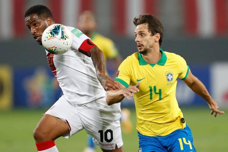 Rodrigo Caio entrou no lugar de Marquinhos, que se lesionou logo após o primeiro gol peruano