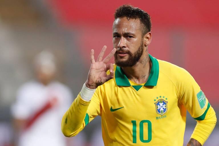 Com três gols, Neymar chegou a 64 e se tornou o segundo maior artilheiro da seleção brasileira, passando Ronaldo e ficando atrás apenas de Pelé (77)