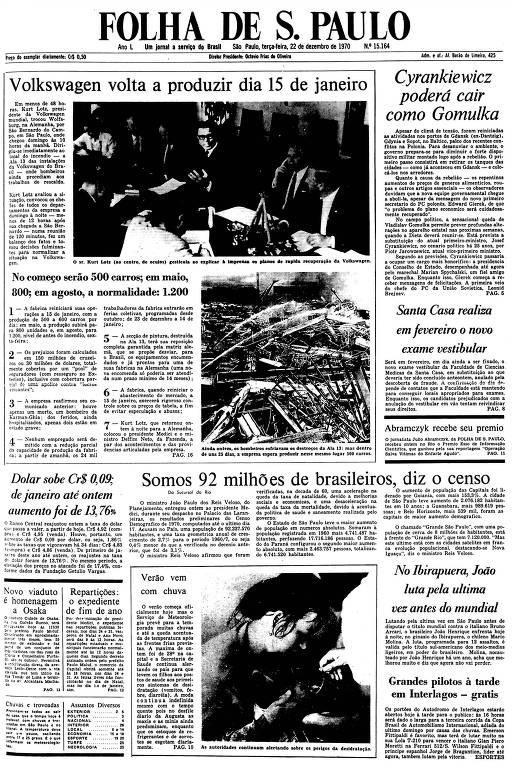 Primeira Página da Folha de 22 de dezembro de 1970