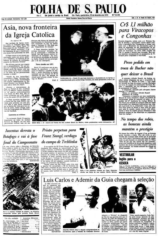 Primeira Página da Folha de 23 de dezembro de 1970