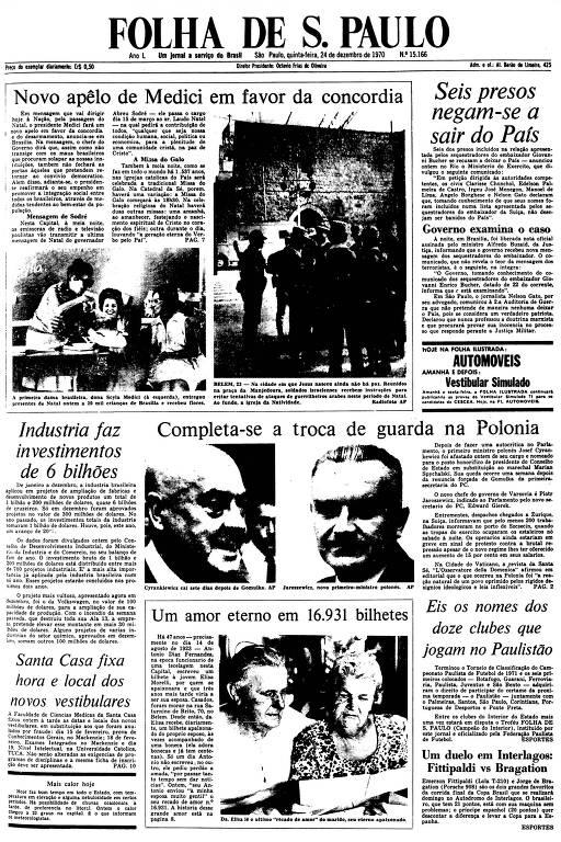 Primeira Página da Folha de 24 de dezembro de 1970