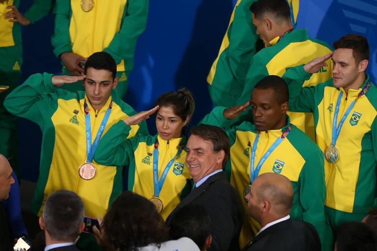 O presidente Jair Bolsonaro durante recepção dos atletas medalhistas nos Jogos Pan-Americanos de 2019