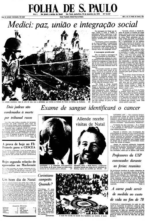 Primeira Página da Folha de 25 de dezembro de 1970