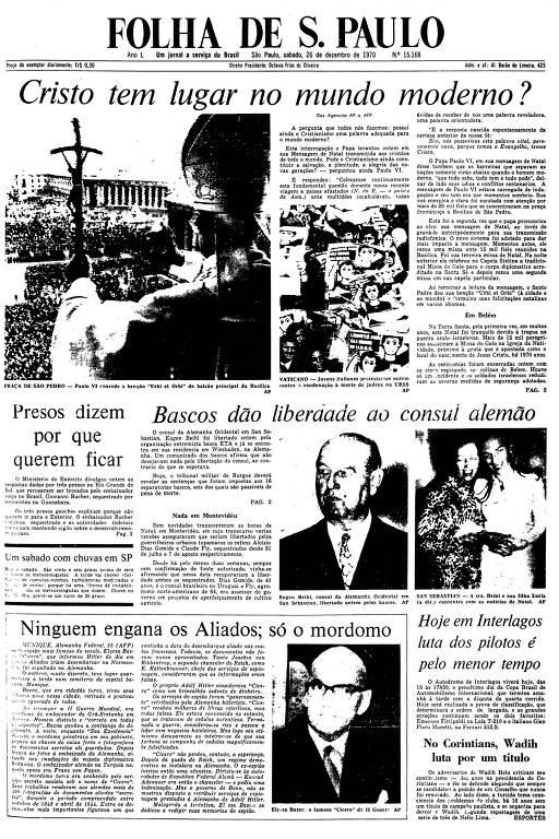 Primeira Página da Folha de 26 de dezembro de 1970