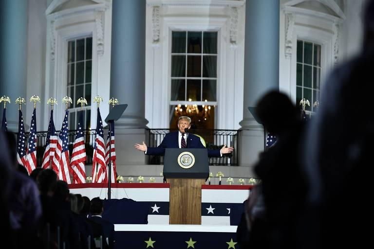 Donald Trump discursa durante evento do partido republicano na Casa Branca, em Washington