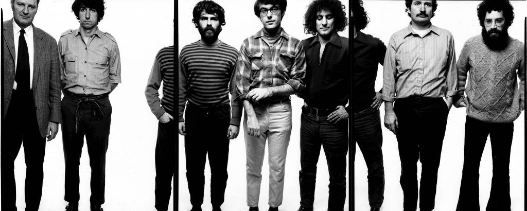 Os sete de Chicago (da dir. para a esq.): Lee Weiner, John Froiners, Abbie Hoffman, Rennie Davis, Jerry Rubin, Tom Hayden e Dave Dellinger