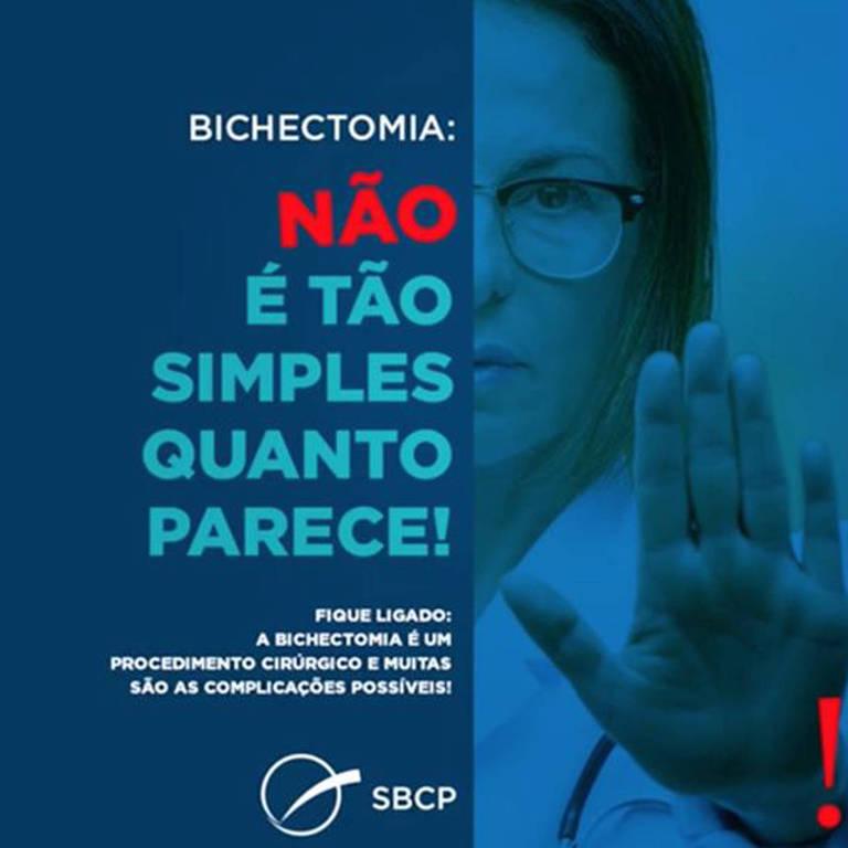 Imagem da campanha realizada no Facebook pela Sociedade Brasileira de Cirurgia Plástica em 2019