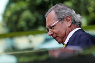 Brazil's Economy Minister Paulo Guedes is seen after a meeting with senator Marcio Bittar in Brasilia