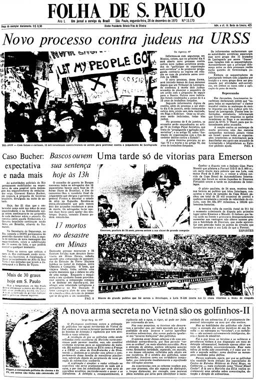 Primeira Página da Folha de 28 de dezembro de 1970
