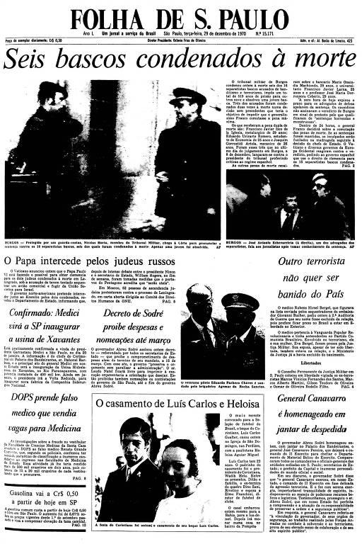 Primeira Página da Folha de 29 de dezembro de 1970