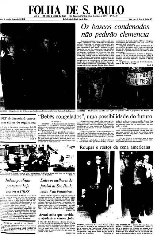 Primeira Página da Folha de 30 de dezembro de 1970
