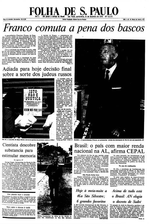 Primeira Página da Folha de 31 de dezembro de 1970