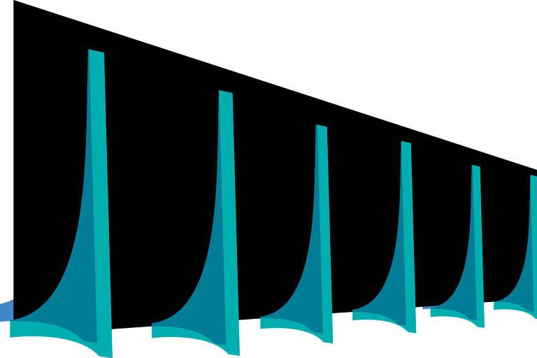 Um desenho esquemático dos arcos do prédio do STF e do Palácio do Planalto. O fundo é preto e os arcos são azuis e verdes