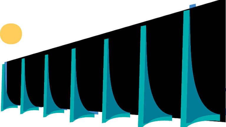 Um desenho esquemático dos arcos do prédio do STF e do Palácio do Planalto. O fundo é preto e os arcos são azuis e verdes. Há um pequeno círculo amarelo ao fundo