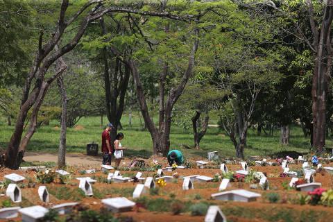 SAO PAULO, SP, 14/10/2020, BRASIL - VISITAS LIBERADAS EM CEMITERIOS DE SAO PAULO - 12:18:06 - Temos a informacao, ainda dependendo de confirmacao da prefeitura, de que as visitas nos cemiterios publicos da cidade foi liberada nesta fase verde do Plano Sao Paulo de reabertura da quarentena do novo coronavirus. Geral do cemiterio da Vila Formosa, na zona leste. Rivaldo Gomes/Folhapress, NAS RUAS -