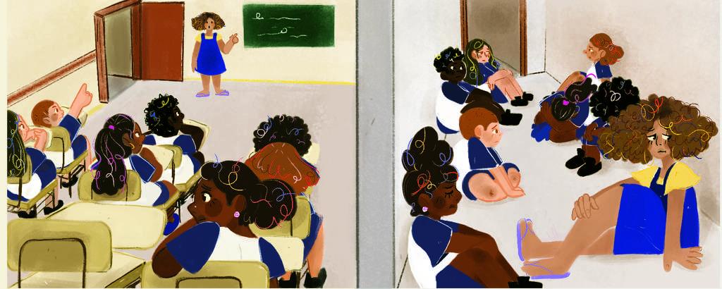 crianças se protegendo na escola