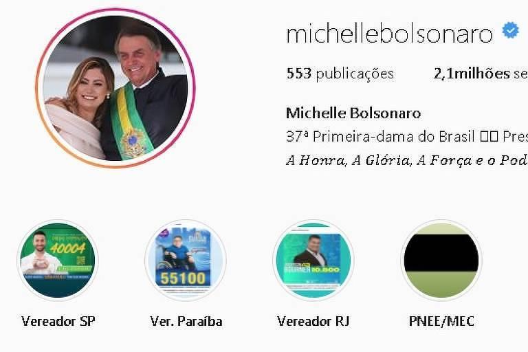 Apoio a três candidatos a vereador aparece nos destaques do perfil da primeira-dama, Michelle Bolsonaro