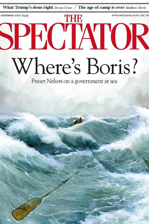 Ilustração com grandes ondas, um barquinho perdido no meio e um remo boiando em primeiro plano, com o título Onde está Boris?