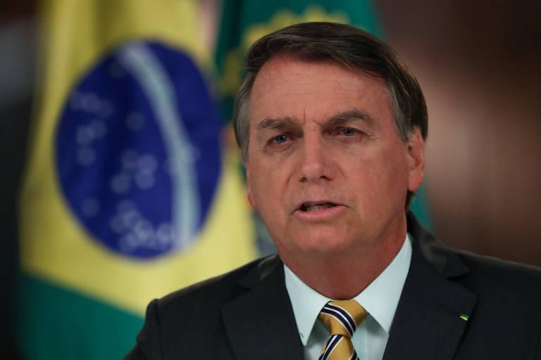 O presidente Jair Bolsonaro durante gravação de vídeo para abertura do evento
