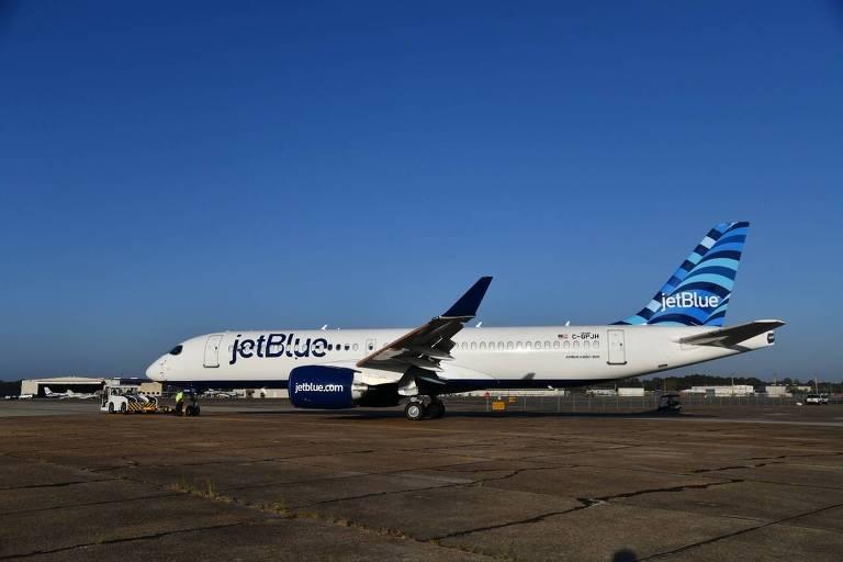 JetBlue divulga nesta segunda-feira (19) imagens de seu primeiro jato Airbus A220