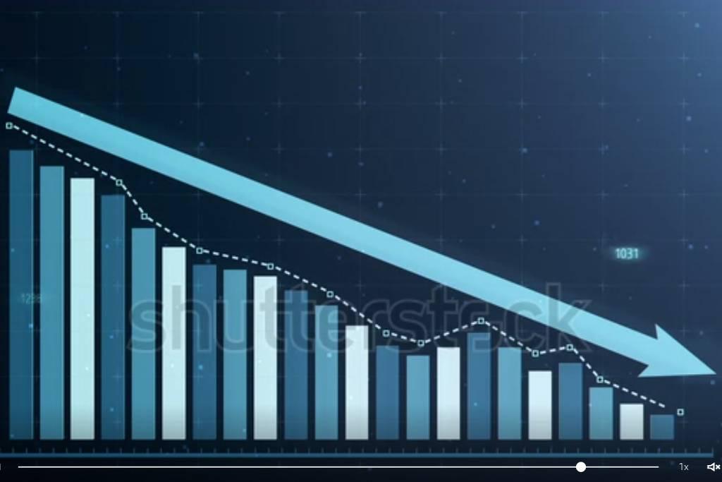 Gráfico de barras com flecha que aponta no sentindo descendente