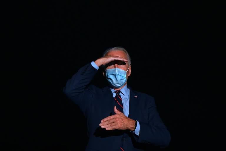 O candidato democrata à Presidência dos EUA, Joe Biden, durante entrevista coletiva em Hebron, no estado do Kentucky