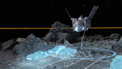 Concepção artística da área de pouso da sonda Osiris-Rex, em escala; alvo é do tamanho de algumas vagas de estacionamento
