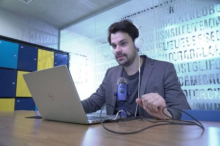O economista Pedro Fernando Nery durante a gravação do podcast Economisto
