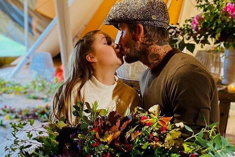 O ex-jogador de futebol David Beckham comemora o aniversário da filha, Harper
