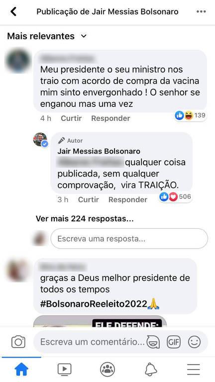 Bolsonaro desautoriza acordo de Pazuello sobre vacina em resposta a questionamentos de internautas