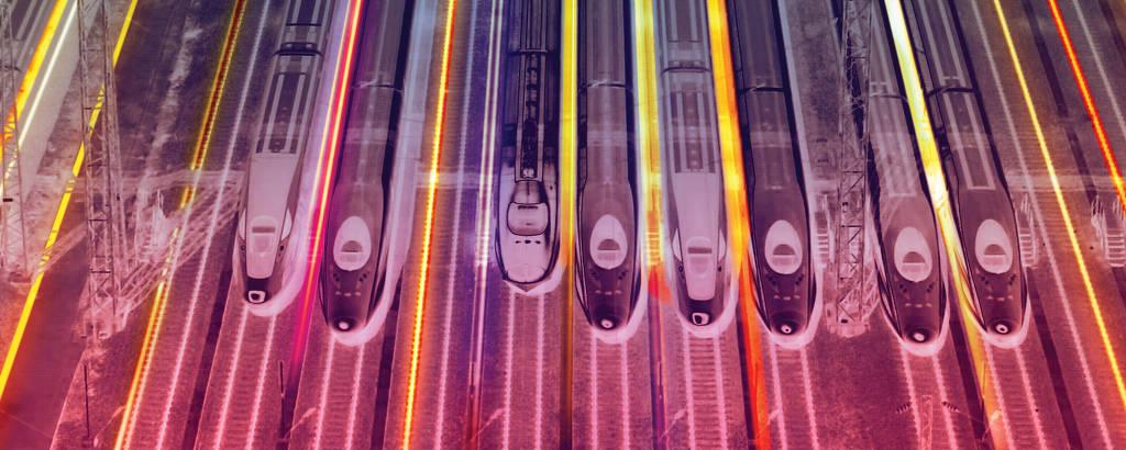 Trens em movimento de alta velocidade