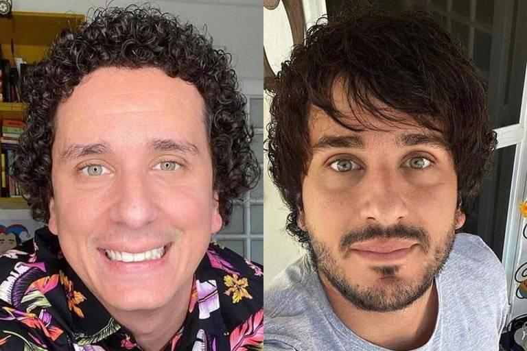 Rafael Portugal mostra como ficaria com cabelos lisos e barba