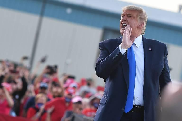 O presidente Donald Trump durante comício em Carson City, no estado de Nevada