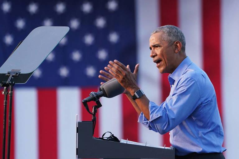 O ex-presidente Barack Obama faz campanha para Joe Biden, candidato democrata à Presidência, na Pensilvânia