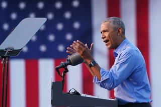 Former U.S. President Obama campaigns on behalf of Democratic presidential nominee Joe Biden in Philadelphia, Pennsylvania