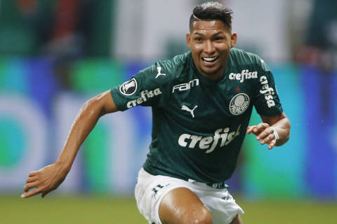 Soccer Football - Copa Libertadores - Palmeiras v Tigre - Allianz Arena, Sao Paulo, Brazil - October 21, 2020?? Palmeiras' Rony celebrates scoring their fifth goal Pool via REUTERS/Miguel Schincariol ORG XMIT: CPG223
