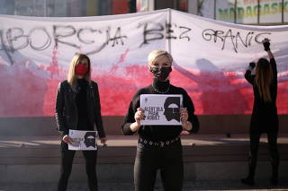 Women protest against imposing further restrictions on abortion law in Poland in Szczecin