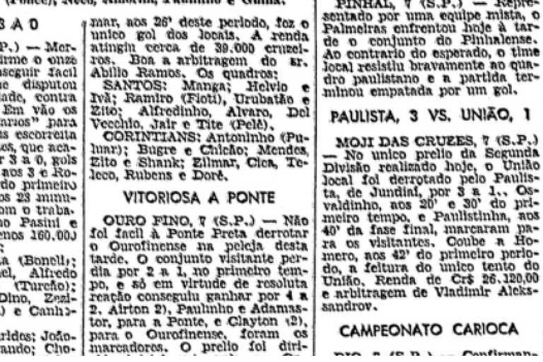 Registro da primeira aparição do nome de Pelé na Folha da Manhã, em 8 de setembro de 1956