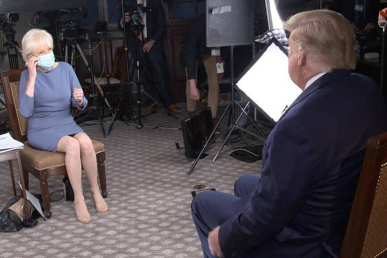 """O presidente Donald Trump e a apresentadora Lesley Stahl, durante gravação do """"60 Minutes"""""""