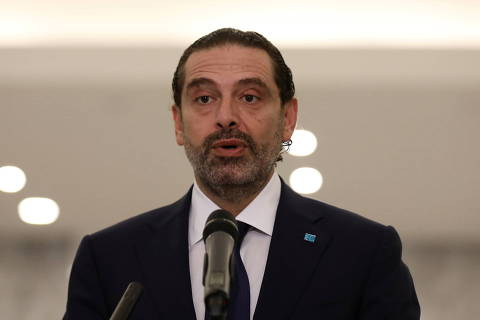 Lebanese Sunni leader Saad al-Hariri, talks to the media after being named Lebanon's new prime minister at the presidential palace in Baabda, Lebanon October 22, 2020. REUTERS/Mohamed Azakir ORG XMIT: LBN