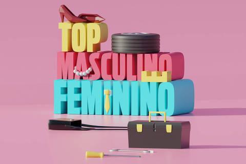 Ilustração da categoria Top Feminino e Masculino da Folha Top of Mind 2020