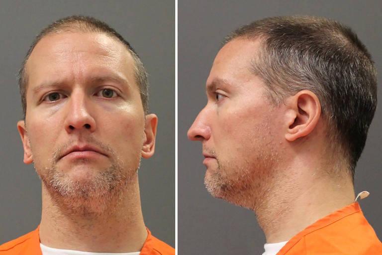 O ex-policial Derek Chauvin em imagem sem data feita após ele ser transferido para instalações da Corregedoria do Departamento de Polícia de Minnesota